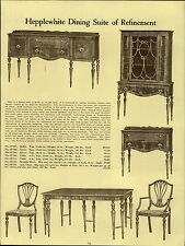 1937 PAPER AD Hepplewhite Dining Room Furniture Suite China Buffet Table Chair