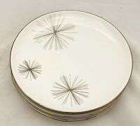 "Set of 4 Pier 1 Porcelain 8.25"" Salad Dessert Plates White W/ Silver Pine Needle"