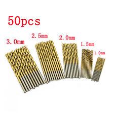 50 Pcs HSS Cobalt Foret Fraise 1.0-3.0mm Percage Perceuse Acier Forage Drill Bit