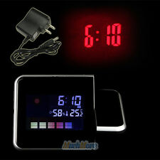Projection Digital Weather LCD Snooze Alarm Clock w/ LED Backlight+Power Adapter