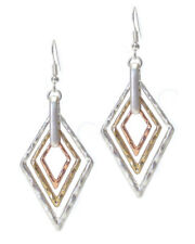 Hammered Multi 3 Tone Triangle Metal Pierced Wire Earrings