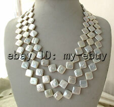3 Strands White 12-13mm Square Coin Freshwater Pearl Necklace Opal Clasp