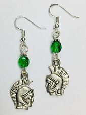 Spartan or Trojan Team Spirit Earrings, FREE SHIPPING, sterling earwires