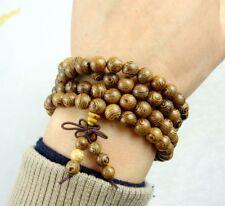 6mm Chicken-Wing Wenge Wood Tibet Buddhist 108 Prayer Beads Elastic Bracelet