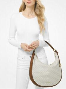 NWT 🐿 Michael Kors Lydia Signature Top Zipper Large Hobo Bag Vanilla Acorn