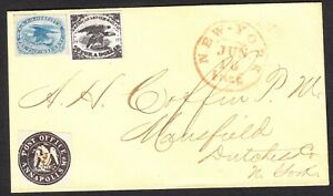 US Scott LO2 old 1c General Issue Carrier Stamp on cover