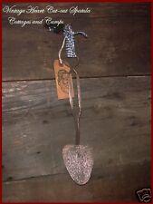Antique Heart Shape vtg Cut-out Metal Spatula Utensil Primitive Xmas Gift Tag