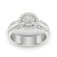 0.57 CT Round Brilliant Cut Diamond Halo Bridal Set Ring 925 Sterling Silver