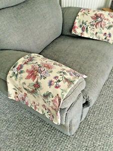 PAIR of ARM Drape Antimacassar Sofa Armchair Protector M&S Modern Flora Ivory D