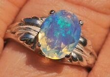 Crystal WELO OPAL 9x7mm .925 Sterling Silver Oval Leaf Ring Size 5