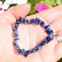 CHARGED Sodalite Crystal Chip Bracelet Tumble Polished Stretchy ENERGY REIKI