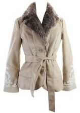 INC Womens Coat Sz XL $159 Faux Suede Faux Fur Winter Belted Beige Embroidered