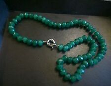 "Natural emerald 18"" necklace.UK SELLER.Hand-knotted abacus Opaque real gem beads"