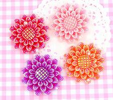 4 X Large Sparkle flor Flatback Cabochon Adornos Hágalo usted mismo Craft Deco Kawaii