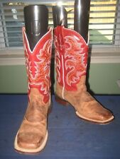 WOMEN'S DAN POST BROWN DISTRESSED SQUARE TOE LEATHER COWBOY WESTERN BOOTS sz 7m