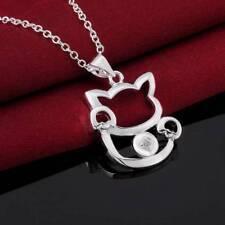 925 Silver plated Jewelry Crystal Maneki Neko Pendants Necklace For Women N591