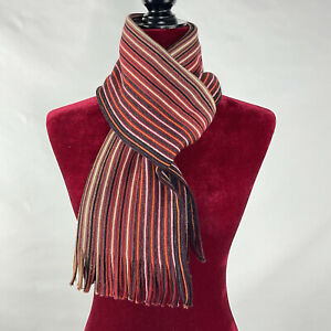 Altea Milano Unisex Wool Multi Stripes Red Orange Gray Fringes Scarf
