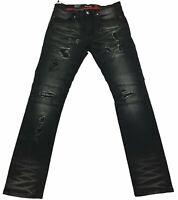 Makobi Black Coated Biker Jeans
