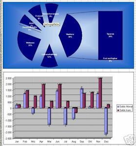 Haushaltsbuch und Finanzplanung - MS Excel mit Rechnung - einfache Bedienung