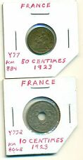 2 OLDER COINS from FRANCE - 10 & 50 CENTIMES (BOTH DATING 1923)
