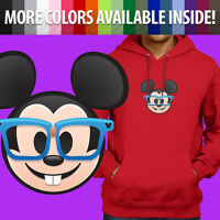 Nerd Glasses Mickey Mouse Face Emoji Disney Unisex Pullover Hoodie Sweater S~3XL