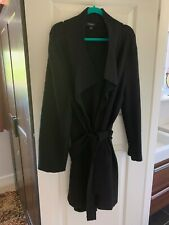 LADIES 100% WOOL BLACK BELTED COAT SIZE 18 EXCELLENT CONDITION