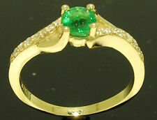 R213- Genuine 9ct Gold Natural Emerald & Diamond Engagement Ring size O