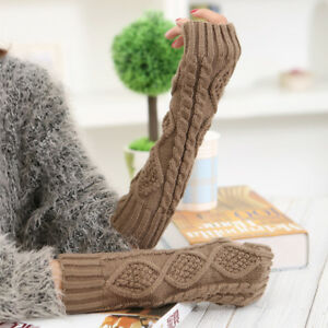 Fingerless Gloves Arm Warmers Winter Warm Knitted Accessory Colours UK STOCK!!!