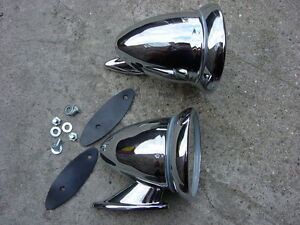 CONVEX Chrome Bullet Wing Door Mirrors Universal MG Triumph Lotus Healey Ford