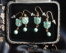 Cat lover EARRINGS Givres glass deco mint green turquoise to match cat necklaces