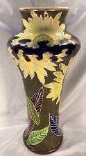 """18"""" Tobacco Leaf Art Nouveau Trumpet Shape Vase Moriage & Gilt ExUsdCn"""