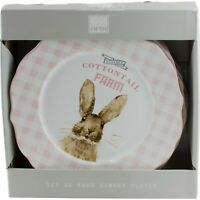 222 Fifth Clovers Cottontail Farm Easter Bunny Rabbit Dinner Plates Set of 4