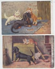 2 VINTAGE DACHSHUND WITH KITTENS PCS ARTIST SIGNED USED 1912