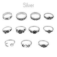 11Pcs Lot Punk Silver Boho Fashion Arrow Moon Midi Finger Knuckle Rings Jewelry