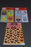 Set of 3 Paper Craft Sticker Cards and Heart Gift Stickers Valentine's Day NEW