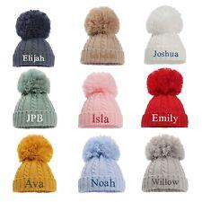 Personalised Baby Boy Girl Hat Pom Pom Bobble New Baby Shower Gift