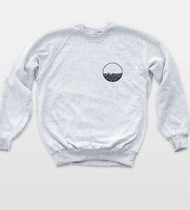 Circle Waves Pocket Badge Sweatshirt Nautical Theme Indie Jumper