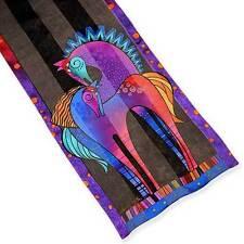 LAUREL BURCH 100% Silk Scarf ~ Purple Mares Long Scarf ~ New