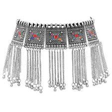 2f4a6c05ac56 Indio Gargantilla Collar de Plata Joyería tradicional oxidado Boda Bollywood