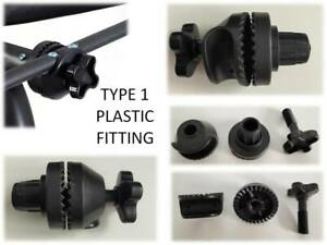 Plastic screw fittings to attach canopy to frame for garden swing