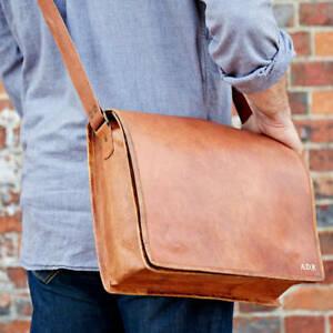 Bag Leather Goat Vintage Laptop Messenger Genuine Brown Briefcase Satchel Real