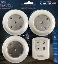 Grundig White LED Wireless Remote Controlled Lights 3 Pack Puck
