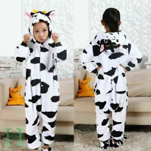 Kids Farm Animal Cow Cosplay Costume Boys Girls Cute Jumpsuit Pyjamas Sleepwear