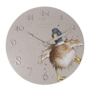 Wrendale Designs Duck Wall Clock - 30cm Diameter Analogue Face – Home Decor