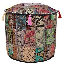 "22"" Cotton Pouffe Foot Stool Indian Patchwork Ottoman Round Cover Throw Decor"