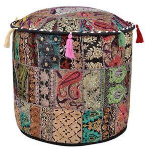 Indian Ottomans Cover Patchwork Round Floor Decorative Pouffe Case Bean Bags 18