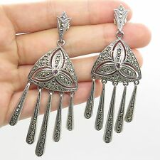 925 Sterling Silver Real Marcasite Gemstone Long Dangling Chandelier Earrings