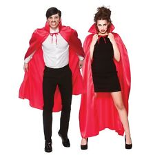 Unisex Halloween Satin Look Fancy Dress Cape with Stand Up Collar Red One Size