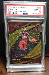 2019 JOHN WALL ROCKETS PANINI SELECT GOLD DISCO PRIZM /10 PSA 10 GEM MINT #219