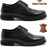Mens Leather Brogue Smart Formal Office Casual Lace Up Oxford Brogue Shoes Size